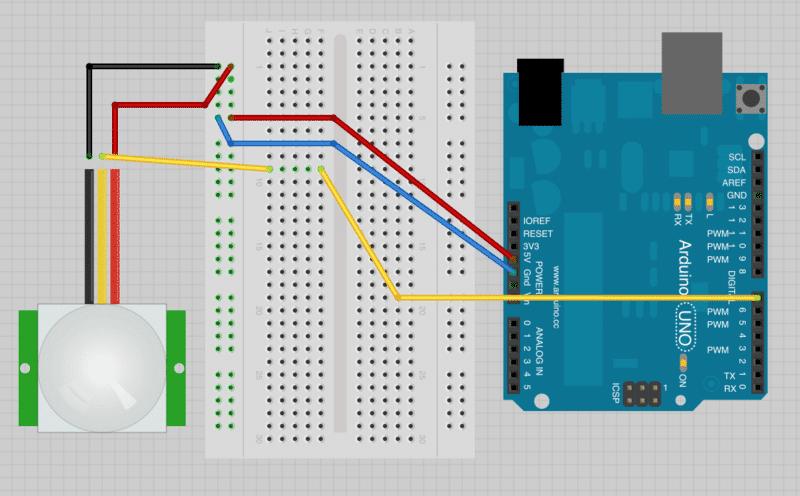 PIR sensor breadboard design