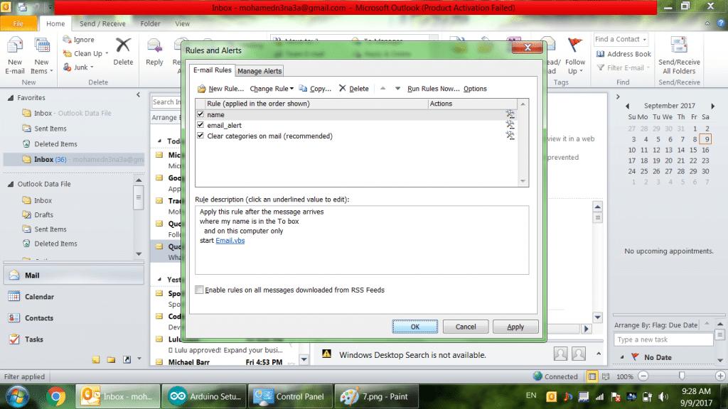 Email Alert: استخدام الاردوينو مع البلوتوث لعمل تنبية لرسائل البريد